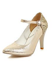 Feminino Sapatos Courino Primavera Outono Conforto Saltos Salto Agulha Dedo Apontado Lantejoulas Para Casamento Social Dourado Branco