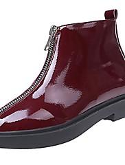 Feminino Sapatos Couro Ecológico Outono Inverno Solados com Luzes Botas Rasteiro Ponta Redonda Cadarço Para Casual Preto Vermelho
