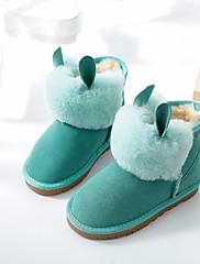 Para Meninas sapatos Pele Inverno Botas de Neve Botas Botas Curtas / Ankle Para Casual Roxo Fúcsia Verde Rosa claro Khaki