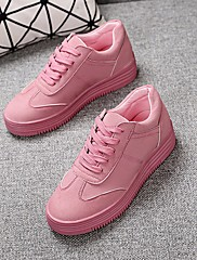 Feminino Sapatos Couro Ecológico Primavera Outono Conforto Tênis Rasteiro Ponta Redonda Para Casual Branco Rosa claro