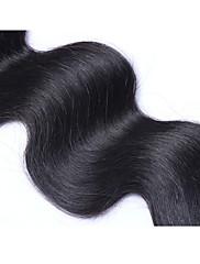 Ubehandlet Indisk hår Menneskehår, Bølget Krop Bølge Hår Ekstensions 1 Sort