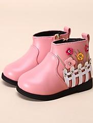 女の子 靴 レザーレット 冬 スノーブーツ ローファー&スリップアドオン ブーティー/アンクルブーツ 用途 カジュアル ブラック レッド ピンク