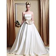 Linha A Princesa Sem Alças Cauda Capela Cetim Vestido de casamento com Faixa / Fita Laço Drapeado Lateral de LAN TING BRIDE®