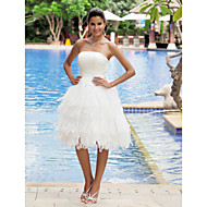 cheap Little White Dresses-A-Line Strapless Knee Length Organza Satin Custom Wedding Dresses with Tiered by LAN TING BRIDE®