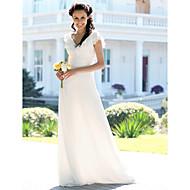 Trompet / Deniz Kızı V Yaka Yere Kadar Şifon Kırma Dantel ile Kıyafetli Gelinlikler tarafından LAN TING BRIDE® / Çiçek Yaprağı