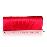 baratos Clutches & Bolsas de Noite-Mulheres Bolsas Cetim Bolsa de Festa Detalhes em Cristal Roxo / Dourado Claro / Vermelho