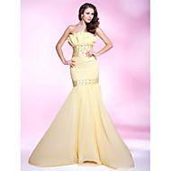 Havfrue / trompet stropløs sweep / børste tog chiffon prom kjole med perle af ts couture®