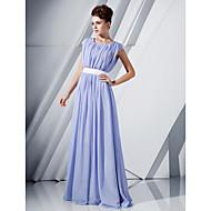 Linha A Scoop pescoço Longo Chiffon Evento Formal Vestido com Lantejoulas / Faixa / Fita de TS Couture®