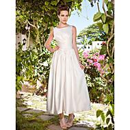 Γραμμή Α Scoop Neck Μέχρι τον αστράγαλο Σατέν Φορέματα γάμου φτιαγμένα στο μέτρο με Δαντέλα / Ζώνη / Κορδέλα / Πιασίματα με LAN TING BRIDE®