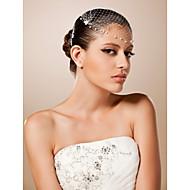 baratos Acessórios de Cabelo de Noiva-Tule Cristal Tecido Tiaras Fascinadores 1 Casamento Ocasião Especial Festa / Noite Capacete