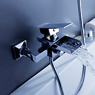 Contemporary Tub And Shower Waterfall with  Ceramic Valve Two Holes Single Handle Two Holes for  Chrome , Bathtub Faucet