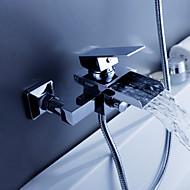 Современный Ванна и душ Водопад with  Керамический клапан Два отверстия Одной ручкой Два отверстия for  Хром , Смеситель для ванны