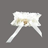 cheap Wedding Garters-Garter Lace Satin Rhinestone Sweetheart White Wedding Accessories