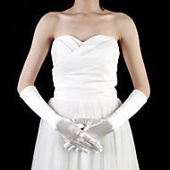 billiga Brudhandskar-satin armbåge längd fingertoppar blomma flicka handskar (fler färger)