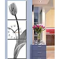 E-Home 3Pcs Contemporary Style Botanical  Canvas Wall Clock Home Decorations