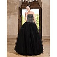 A-line bold kjole prinsesse stropløs gulvlængde satin tulle prom kjole med beading af ts couture®