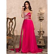 A-line princeza bez strapless sweetheart sud vlak chiffon večernje haljina s beading by ts couture ®
