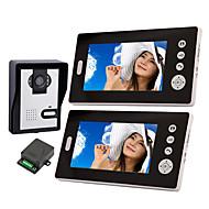 billige Dørtelefonssystem med video-Trådløs nattsyn kamera med 7 tommers dørtelefon Monitor (1kamera 2 skjermer)