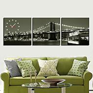 billige Veggklokker-moderne scenisk veggur i canvas 3pcs k0042