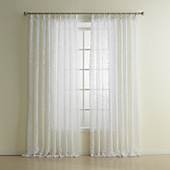 cheap Sheer Curtains-Rod Pocket Grommet Top Tab Top Double Pleat Two Panels Curtain Neoclassical Living Room Polyester Material Sheer Curtains Shades Home