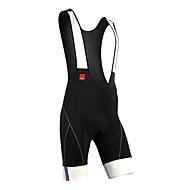 SANTIC Herre Cykelshorts (bib) - Sort Cykel Shorts med seler Forede shorts, Hurtigtørrende, Åndbart, Refleksbånd, 3D Måtte