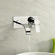 Contemporary Wall Mounted Waterfall with  Ceramic Valve Two Holes Single Handle Two Holes for  Chrome , Bathroom Sink Faucet