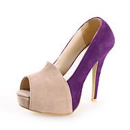 baratos Sapatos Femininos-Sapatos Camurça Primavera / Verão / Outono Salto Agulha Combinação Roxo / Rosa / Social