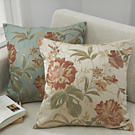 cheap Cushion Sets-2 pcs Polyester Pillow Cover, Floral Traditional