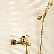baratos Chuveiros-Torneira de Chuveiro - Clássica Latão Antiquado Banheira e Chuveiro Vãlvula Latão Bath Shower Mixer Taps / Monocomando Dois Buracos