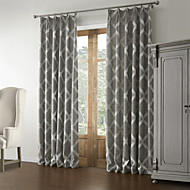 Rococo Two Panels Geometric Grey Bedroom Linen Panel Curtains Drapes
