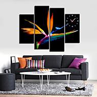 relógio de parede design de pássaro em conjunto tela de 4