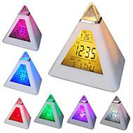 7 levou cores variáveis em forma de pirâmide alarme digital calendário relógio termômetro (branco, 3xAAA)