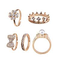 Anéis Diário Jóias Liga Feminino Anéis Meio Dedo 1 Conjunto 5pçs,8½ Dourado