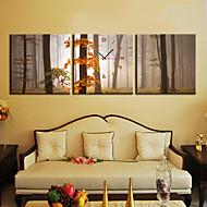 moderno estilo maple leaf relógio de parede em tela 3pcs