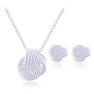 Dámské Plaited Šperky Set Stříbro, Stříbrná dámy, Elegantní, Pro nevěstu Zahrnout Peckové náušnice Náhrdelníky s přívěšky Stříbrná Pro Svatební Párty Narozeniny Zásnuby Dar Plesová maškaráda
