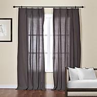 baratos Cortinas Transparentes-Dois Painéis Tratamento janela Moderno , Sólido Sala de Estar Linho/Mistura de Algodão Material Sheer Curtains Shades Decoração para casa