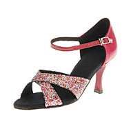 cheap Dancewear & Dance Shoes-Women's Latin Ballroom Sparkling Glitter Heel Buckle Customized Heel Black Red Blue Customizable