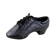 """billige Moderne sko-Herre Barne Latin Ballett Lær Sandaler Kubansk hæl Svart 1 """"- 1 3/4"""" Kan ikke spesialtilpasses"""
