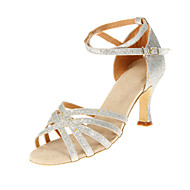 Kan spesialtilpasses-Dame-Dansesko-Latinamerikansk Ballett-Glimtende Glitter-Kustomisert hæl-Sølv