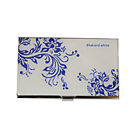 Personalizat albastru-alb model floare gravate Business Card Holder