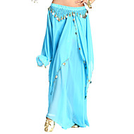 cheap Sale-Belly Dance Skirt Women's Chiffon Coin Tier Natural Skirt