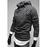Duolunduo Mænds Rabbit Fur Collar Diagonal Zipper Tyk Fleece Hooded Sweater (Mørk Grå)