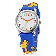Barns för tecknad film 3D Giraffe Pattern Silicone Band Little Round Dial Quartz analog armbandsur