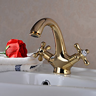 cheap Ti-PVD Series-Bathroom Sink Faucet - Rotatable Ti-PVD Centerset One Hole Two Handles One Hole
