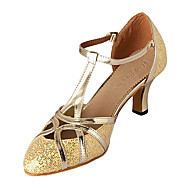 Women's Dance Shoes Modern Leatherette/Sparkling Glitter Customized Heel Silver/Gold
