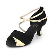 baratos Sapatilhas de Dança-Mulheres Sapatos de Dança Latina / Dança de Salão Camurça / Courino Salto Presilha Salto Agulha Não Personalizável Sapatos de Dança Preto e Dourado / Couro