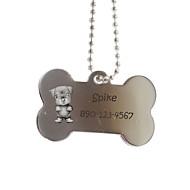 preiswerte Customized Neuheiten-Personalisierte Geschenke Knochen-Form-Silber Pet-ID-Namensschild mit Kette für Hunde