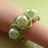 Palace Pearl Wedding Serviett Ring Set av 6, Dia 4,5 cm