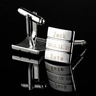 billige Personaliserte antrekktilbehør-Personlig gave rektangel Fringe Pattern Silver gravert mansjettknapper
