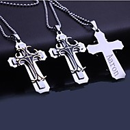 Personalized Gift  Men's Stainless Steel Three Layer  Cross Shaped  Engraved Pendant Necklace with 60cm Chain